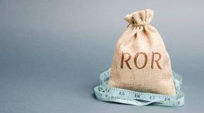 Bolso del dinero con la cinta métrica y la palabra ROR Ratio financiero que ilustra el nivel de p?rdida de negocio Rentabilidad d fotos de archivo