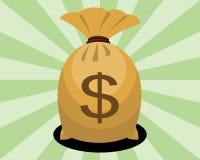 Bolso del dinero con la muestra de dólar Imagen de archivo