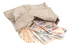 Bolso del dinero con los billetes de banco indios de la rupia de la moneda Imagen de archivo