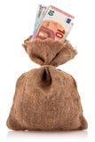 Bolso del dinero con moneda euro Fotos de archivo