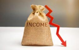 Bolso del dinero con renta y abajo la flecha de la palabra Ingresos reducidos y beneficios Presupuesto reducido Pérdida de dinero fotografía de archivo libre de regalías