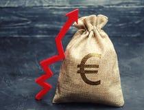 Bolso del dinero con una muestra euro y una flecha ascendente roja El concepto de negocio y de finanzas Aumento de beneficios Aná imagen de archivo libre de regalías