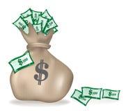 Bolso del dinero Dólares en el bolso abundancia Imagen de archivo