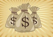 Bolso del dinero por completo de las monedas de los dólares Imágenes de archivo libres de regalías