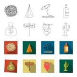 Bolso del dinero, salón, pañuelo del vaquero, cactus Iconos determinados de la colección del oeste salvaje en el esquema, acción  Foto de archivo