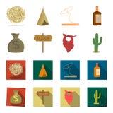 Bolso del dinero, salón, pañuelo del vaquero, cactus Iconos determinados de la colección del oeste salvaje en la historieta, acci Fotografía de archivo