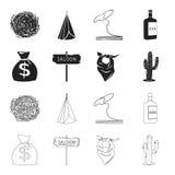 Bolso del dinero, salón, pañuelo del vaquero, cactus Iconos determinados en negro, acción de la colección del oeste salvaje del s Fotografía de archivo