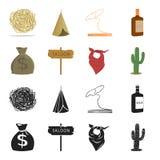 Bolso del dinero, salón, pañuelo del vaquero, cactus Iconos determinados en negro, acción de la colección del oeste salvaje del s Fotos de archivo