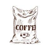 Bolso del ejemplo dibujado mano del vector del bosquejo del café Fotos de archivo