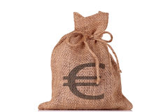 Bolso del euro del dinero imágenes de archivo libres de regalías