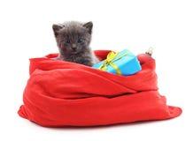 Bolso del gato y de la Navidad con los regalos fotos de archivo