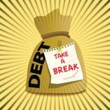 Bolso del oro de la deuda para tomar una rotura Fotografía de archivo libre de regalías