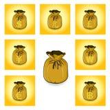 Bolso del oro de la reserva del dinero para el éxito toda la moneda Fotografía de archivo libre de regalías
