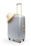 Bolso del recorrido y sombrero de paja Imagen de archivo libre de regalías