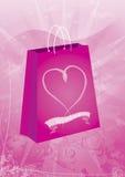 Bolso del regalo de las tarjetas del día de San Valentín Fotografía de archivo