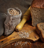Bolso del trigo en la panadería Imagen de archivo libre de regalías