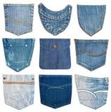 bolso diferente das calças de brim Imagens de Stock Royalty Free
