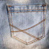 Bolso do close up de calças de brim Foto de Stock