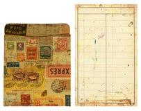 Bolso e inserção de cartão velho da biblioteca, alterados Foto de Stock Royalty Free