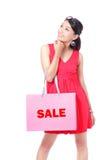 Bolso feliz de la explotación agrícola de la muchacha de compras Fotografía de archivo libre de regalías