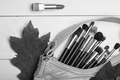 Bolso interior de los cepillos del maquillaje cerca de las hojas de otoño rojas foto de archivo