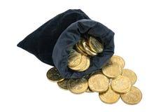 Bolso llenado de las monedas Fotografía de archivo libre de regalías