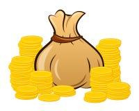 Bolso llenado del dinero en el fondo blanco ilustración del vector
