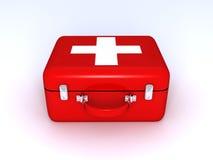 Bolso médico rojo con una cruz blanca Fotografía de archivo