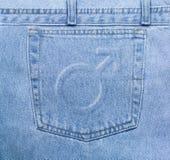Bolso masculino das calças de brim Imagens de Stock Royalty Free