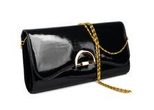 Bolso negro de las señoras elegantes aislado Foto de archivo