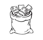 Bolso negro del dinero Imagenes de archivo