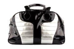 Bolso negro-plateado de la mujer Foto de archivo