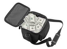 Bolso negro por completo del dinero. Imagen de archivo libre de regalías