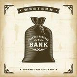 Bolso occidental del dinero del vintage ilustración del vector