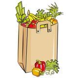 Bolso por completo de tiendas de comestibles frescas Fotos de archivo libres de regalías