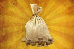 Bolso por completo del dinero Imágenes de archivo libres de regalías