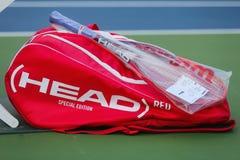 Bolso principal modificado para requisitos particulares del tenis y estafa de tenis de la cabeza durante el US Open 2014 Imagenes de archivo