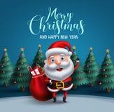 Bolso que lleva del carácter del vector de Papá Noel de los regalos de la Navidad con el saludo del texto de la Feliz Navidad ilustración del vector