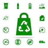 bolso que recicla el icono verde sistema universal de los iconos de Greenpeace para el web y el móvil libre illustration