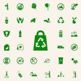 bolso que recicla el icono verde sistema universal de los iconos de Greenpeace para el web y el móvil ilustración del vector