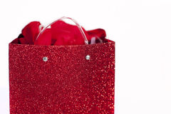 Bolso rojo del regalo   Imagen de archivo libre de regalías