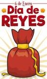 Bolso rojo del regalo como el presente para celebrar a Dia de Reyes, ejemplo del vector ilustración del vector