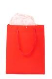 Bolso rojo del regalo para las tarjetas del día de San Valentín Fotos de archivo