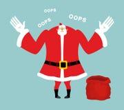 Bolso rojo vacío de Papá Noel Regalos terminados Santa Claus triste habla Imagen de archivo libre de regalías