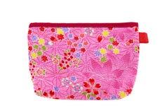 Bolso rosado del bolsillo de la flor con las hojas y los corazones Imagen de archivo libre de regalías