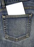 Bolso traseiro de Jean e cartão vazio Imagens de Stock Royalty Free