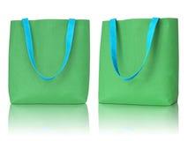 Bolso verde de la tela de las compras Imagenes de archivo