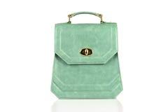 Bolso verde de las mujeres aislado en el fondo blanco Fotos de archivo libres de regalías