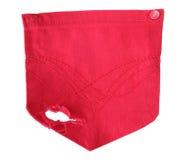 Bolso vermelho das calças de brim isolado no branco Foto de Stock Royalty Free