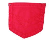Bolso vermelho das calças de brim isolado no branco Fotos de Stock